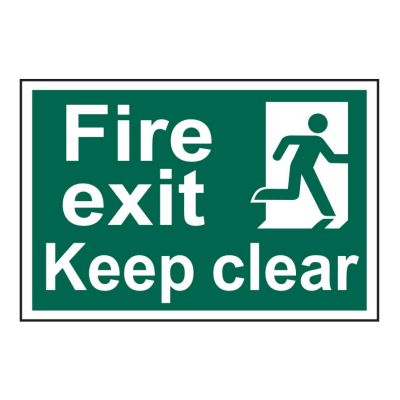 Fire Exit Keep Clear 200 x 300mm