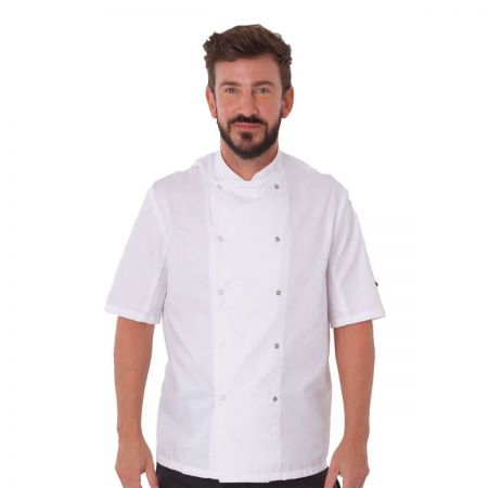 Dennys White Chefs Short Sleeve Jacket DD08S