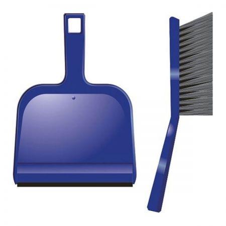 Dustpan & brush set hard. Blue 8596