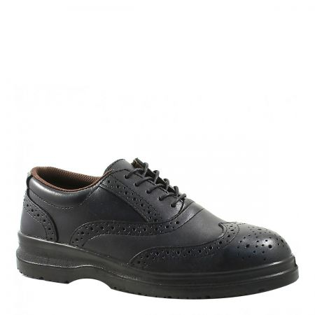 Grafters Black Safety Brogue with Steel Mid Sole S