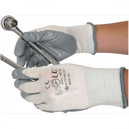 Nitrile Coated Glove White/Grey