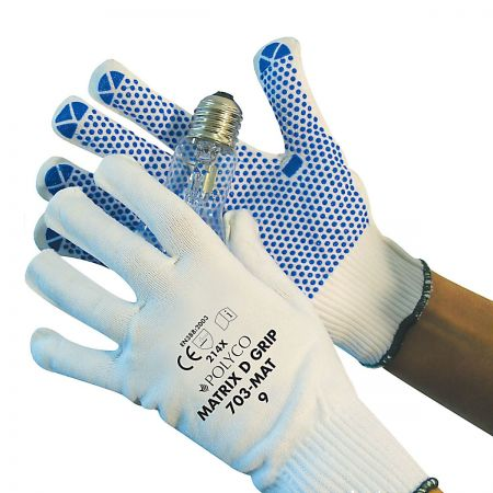 Low Lint White Glove with Polka Dot