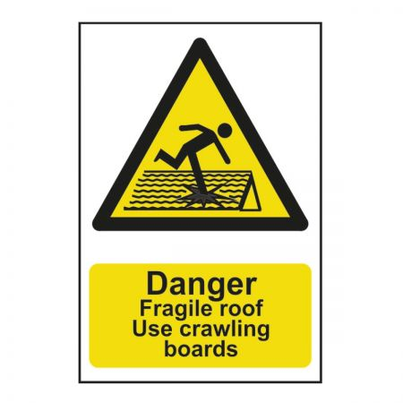 Danger Fragile Roof (600mm x 400mm)