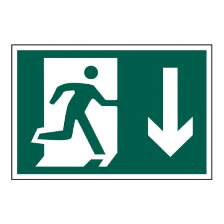 Mandatory Safety Sign - Running Man Down Arrow 600mm x 400mm