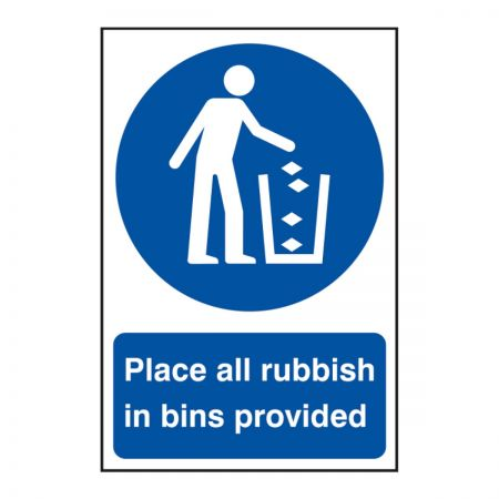 Place All Rubbish In Bins 200 x 300mm