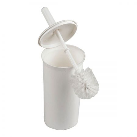Enclosed round toilet brush and holder